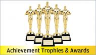 10 x Gold Plastic Marble Achievement Trophy 6.5in