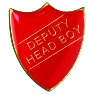 School Shield Badge (Deputy Head Boy) Red 1.25in
