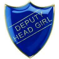 School Shield Badge (Deputy Head Girl) Blue 1.25in