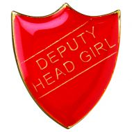 School Shield Badge (Deputy Head Girl) Red 1.25in