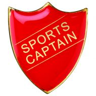 School Shield Badge (Sports Captain) Red 1.25in : New 2020