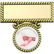 Black/Gold Plastic Badge Bar 2in