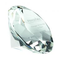 Glass Diamond Shaped Paperweight In Box Clear 4in