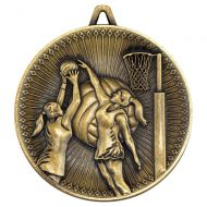 Netball Deluxe Medal Antique Gold 2.35in : New 2019
