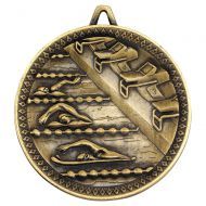 Swimming Deluxe Medal Antique Gold 2.35in : New 2019