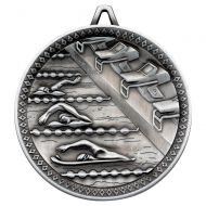 Swimming Deluxe Medal Antique Silver 2.35in : New 2019
