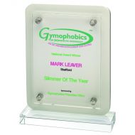White Wood Plaque Clear Base Front 7.75in