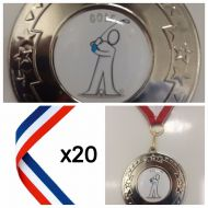 20 x 50mm Silver Golf Medals Red White Blue Ribbon