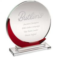 Clear Glass Round Plaque With Red Accent (10mm Thick) - 7.5in : New 2018
