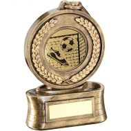 Bronze/Gold Medal Ribbon Football Trophy - 6.5in