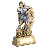Bronze Pewter Female - Ladies Football Figure On Leaf Backdrop Trophy 8.75in : New 2019
