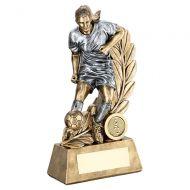 Bronze Pewter Female - Ladies Football Figure On Leaf Backdrop Trophy 7.25in : New 2019