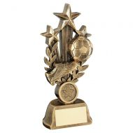 Bronze Gold Football with Boot On Tri Star Wreath Riser Trophy Award 6in : New 2020