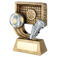 Bronze Gold Pewter Football On Swoosh With Boot Net Trophy 5.25in : New 2019