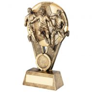 Bronze/Gold Male Multi Footballer On Ball Trophy Award - 7in : New 2018