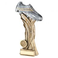 Bronze Pewter Silver Football Boot On Star Column Trophy Award 11in : New 2020