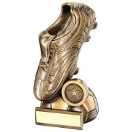Bronze/Gold Football Boot On Half-Ball Base Trophy - 8.5in