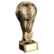 Bronze/Gold Football On Lightning Ribbon Column Trophy (1in Centre) - 8in