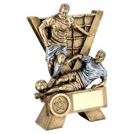 Bronze Pewter Male Double Football Figures With V-Net Backdrop Trophy : New 2019