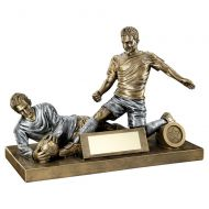 Bronze Pewter Male Football Figure And Goalkeeper Trophy 7.5 X 10.5in : New 2019
