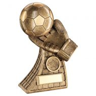 Bronze Gold Football and Goalkeeper Glove On Net Base Trophy Award 7.25in : New 2020