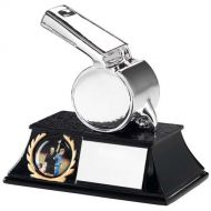 Silver Metallic Whistle Trophy 4.25in