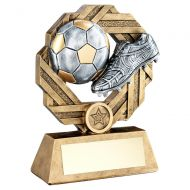 Bronze Pewter Gold Football Octo-Ribbon Series Trophy 7.5in : New 2019