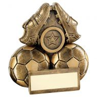 Bronze Gold Two Footballs And Boots Flatback Trophy 4.5in : New 2019