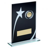 Black White Printed Glass Plaque With Football Insert Trophy 8in : New 2019