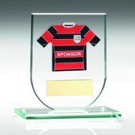Jade Glass Plaque Football Shirt Trophy Award - (Shirt B) - 4.25in : New 2018
