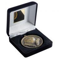 Black Velvet Box And 60mm Medal Football Trophy Antique Gold 4in : New 2019