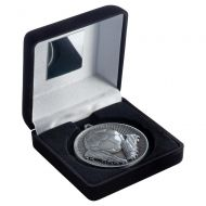 Black Velvet Box And 60mm Medal Football Trophy Antique Silver 4in : New 2019