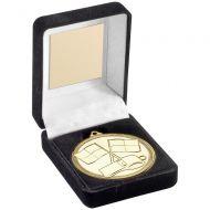 Black Velvet Box And 50mm Medal Referee Trophy - Gold - 3.5in
