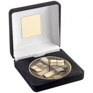 Black Velvet Box And 70mm Medallion Referee Trophy - Antique Gold - 4in