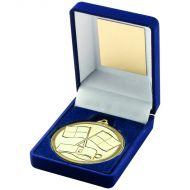 Blue Velvet Box Medal Referee Trophy - Gold 3.5in