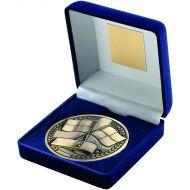 Blue Velvet Box Medallion Referee Trophy - Antique Gold 4in