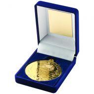 Blue Velvet Box Medal Football Trophy Gold 3.5in