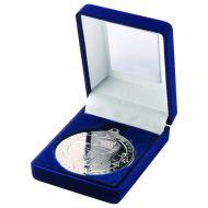 Blue Velvet Box Medal Football Trophy Silver 3.5in
