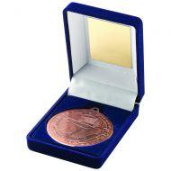 Blue Velvet Box Medal Football Trophy Bronze 3.5in