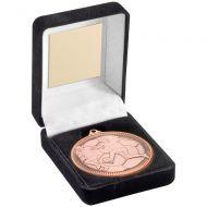 Black Velvet Box And 50mm Medal Football Trophy - Bronze - 3.5in