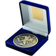 Blue Velvet Box Medal Football Trophy Antique Gold 4in