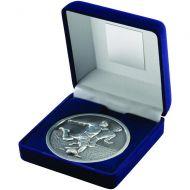 Blue Velvet Box Medal Football Trophy Antique Silver 4in