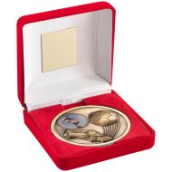 Red Velvet Box Medal Football Trophy Antique Gold 4in