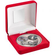 Red Velvet Box Medal Football Trophy Antique Silver 4in