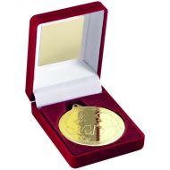 Red Velvet Box Medal Football Trophy Gold 3.5in
