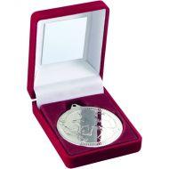Red Velvet Box Medal Football Trophy Silver 3.5in