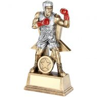 Bronze/Pewter/Red Male Boxing Figure With Star Backing Trophy Award - 6in : New 2018