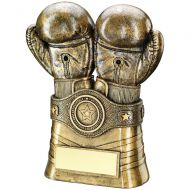 Bronze/Gold Boxing Gloves Belt Trophy 8in