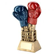 Bronze Gold Red Blue Boxing Gloves Star Burst With Ring Base Trophy 7.75in : New 2019