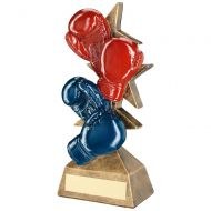Bronze/Red/Blue Boxing Gloves On Multi Star Riser Trophy Award - 8in : New 2018